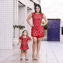 Load image into Gallery viewer, Mom Girl Lace Solid Color Matching Dress