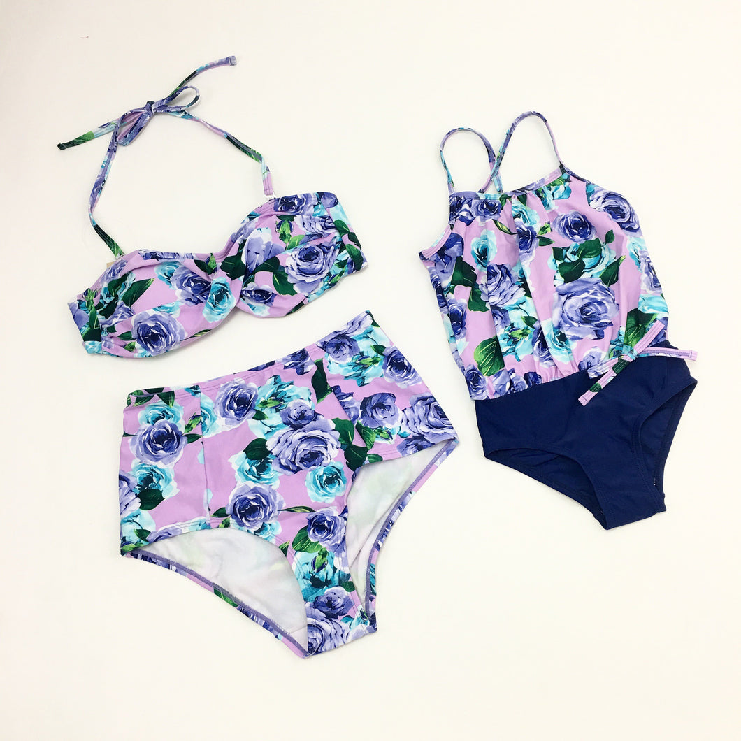 Mom Girl Rose Prints Matching Swimwear