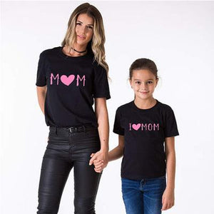 Mom Girl Letters Pattern Matching T-Shirt