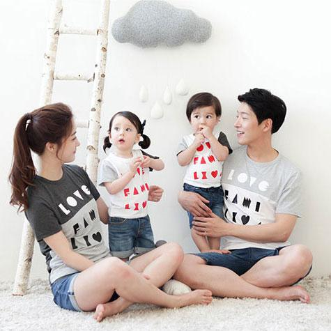 Letters Pattern Color Block Family T-Shirt