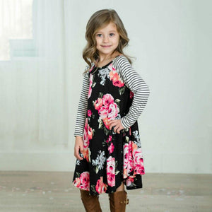 Mom Girl Flower Prints Color Block Matching Dress