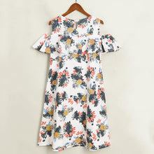 Load image into Gallery viewer, Mom Girl Botanical Prints Cold Shoulder Matching Dress