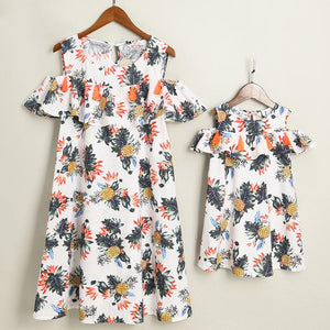 Mom Girl Botanical Prints Cold Shoulder Matching Dress