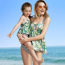 Load image into Gallery viewer, Mom Girl Stripes Leaves Prints Matching Swimwear