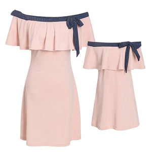 Mom Girl Bowknot Decorated Off Shoulder Matching Dress