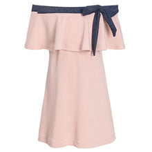 Load image into Gallery viewer, Mom Girl Bowknot Decorated Off Shoulder Matching Dress