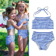 Load image into Gallery viewer, Mom Girl Stripes Halter Matching Swimwear