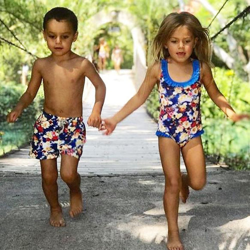 Brother Sister Flower Prints Matching Swimwear