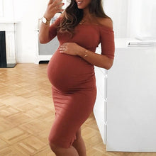 Load image into Gallery viewer, Maternity Off Shoulder Bodycon Dress