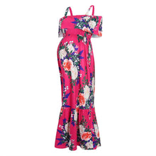 Load image into Gallery viewer, Magenta Floral Ruffle Open Shoulder Maternity Maxi Dress
