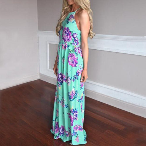 Maternity Floral Print Floor-Length Dress