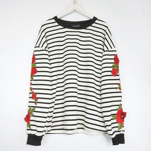 Early Autumn Fashion Stripe Embroidered Sweater