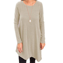 Load image into Gallery viewer, Round Neck  Asymmetric Hem  Plain Long Sleeve T-Shirts