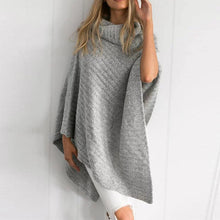 Load image into Gallery viewer, Cowl Neck Striped Tassel Cape Sweaters