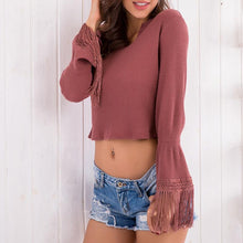Load image into Gallery viewer, V Neck Asymmetric Hem Bell Sleeve Plain Sweaters