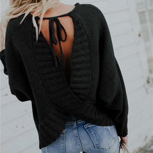Load image into Gallery viewer, Backless Cross Lace Up Long Sleeve Sweater