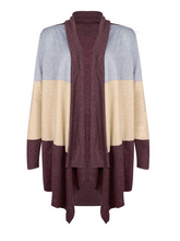 Load image into Gallery viewer, Wcollarless Color Block Cropped Cardigan