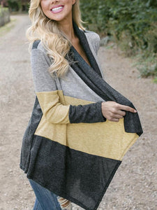 Wcollarless Color Block Cropped Cardigan