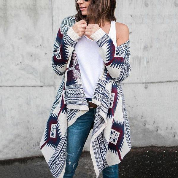 Collarless  Tribal Printed  Long Sleeve Cardigan