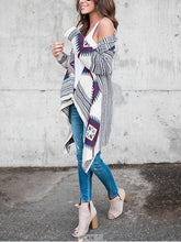 Load image into Gallery viewer, Collarless  Tribal Printed  Long Sleeve Cardigan