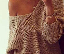 Load image into Gallery viewer, Loose Solid Color V-Neck Strapless Long Sleeve Sweater