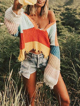 Load image into Gallery viewer, V-Neck Rainbow Striped Fringed Loose Irregular Knit Sweater