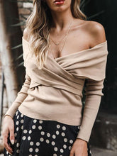 Load image into Gallery viewer, Off-Shoulder Chest-Front Cross-Knit Sweater