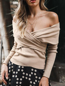 Off-Shoulder Chest-Front Cross-Knit Sweater