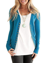 Load image into Gallery viewer, Solid Color V-Neck Long Sleeve Fashion Button Cardigan
