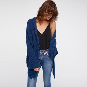 Loose Long Sleeve Tassel Casual Cardigans