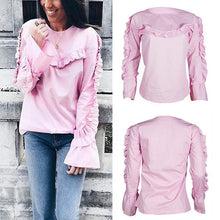 Load image into Gallery viewer, Round Neck Lace Horn Long Sleeve Sweatshirts