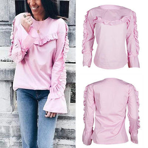 Round Neck Lace Horn Long Sleeve Sweatshirts