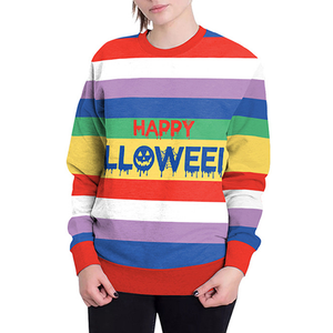 Rainbow Striped Halloween Print Pullover