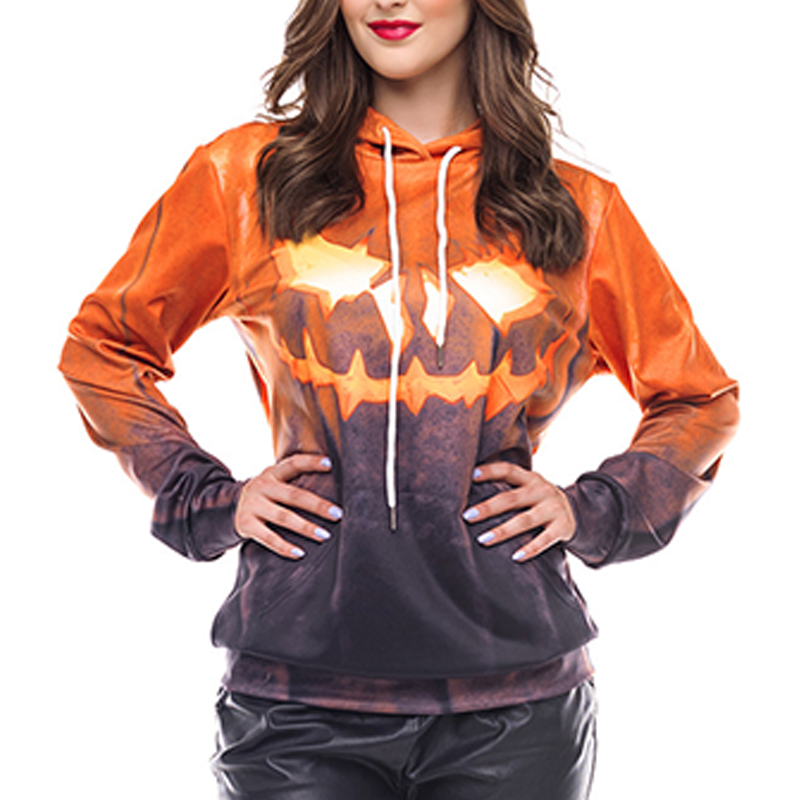 Halloween Ghostly Face Printing Hoodie