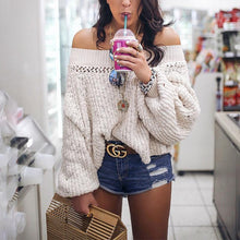 Load image into Gallery viewer, Sexy Off Shoulder Hollow Out Lantern Sleeve Knitting Sweaters