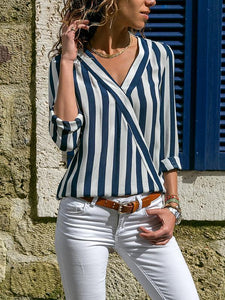 Striped V-Neck Long-Sleeved Blouse