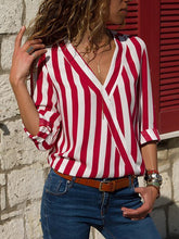 Load image into Gallery viewer, Striped V-Neck Long-Sleeved Blouse