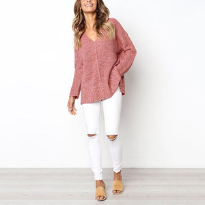V Neck Patchwork Long Sleeve Sweaters