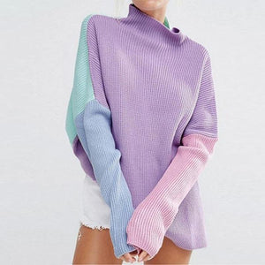 Loose Color Block Long Sleeve Casual Sweaters