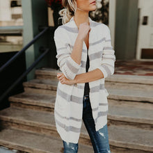 Load image into Gallery viewer, Fashion Stripes Pocket Long Sleeve Cardigans