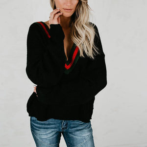 Deep V Neck Color Block Long Sleeve Sweaters