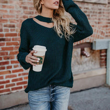 Load image into Gallery viewer, Round Neck Hollow Out Long Sleeve Plain Sweaters