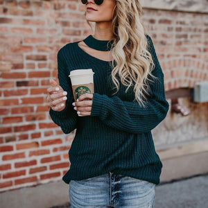 Round Neck Hollow Out Long Sleeve Plain Sweaters