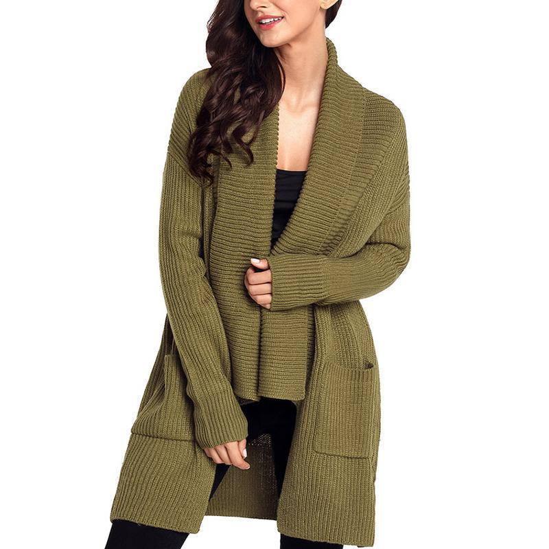 Lapel Pleated Long Sleeve Pocket Loose Knitting Cardigans