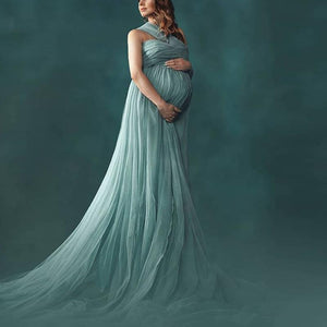 Maternity One-Shoulder Sleeveless Full Length Gown