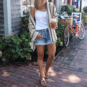 Flare Sleeve Loose Stripes Cardigans