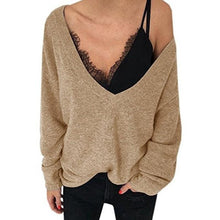 Load image into Gallery viewer, Deep V Neck Long Sleeve Plain Knitting Sweaters