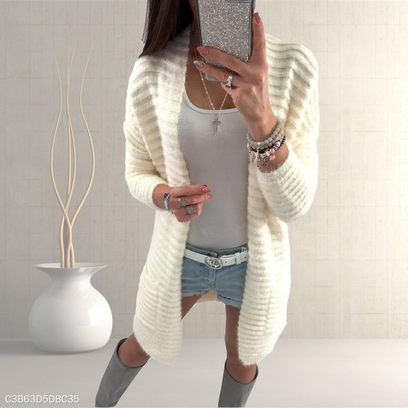 Loose Plain Long Sleeve Pocket Casual Cardigans