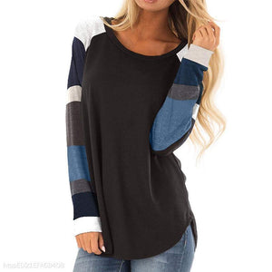 Round Neck Print Multicolor Stitching Long Sleeve T-Shirt