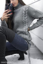 Load image into Gallery viewer, Fashion Casual Daily Life Loose Plain High Collar Long Sleeve Sweater